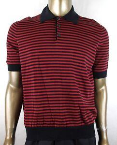 b0fa0c0ae $765 Gucci Men's Blue/Red Striped Fine Cotton/Cashmere Polo Shirt ...