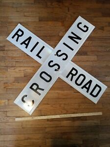 VINTAGE-RAILROAD-CROSSING-SIGN-DOUBLE-SIDED-LARGE-4-FOOT-x-9-INCH