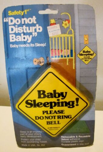 NOS Safety 1st 1985 Baby Sleeping Please Do Not Ring Bell The Original Made USA