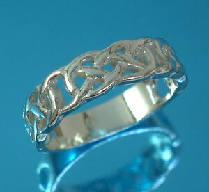 solid 925 sterling silver 5mm band thumb ring celtic knot