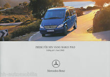 "Lista de precios Mercedes Viano marco polo 1.6.05 (d) Price List ""prijslijst cenik"