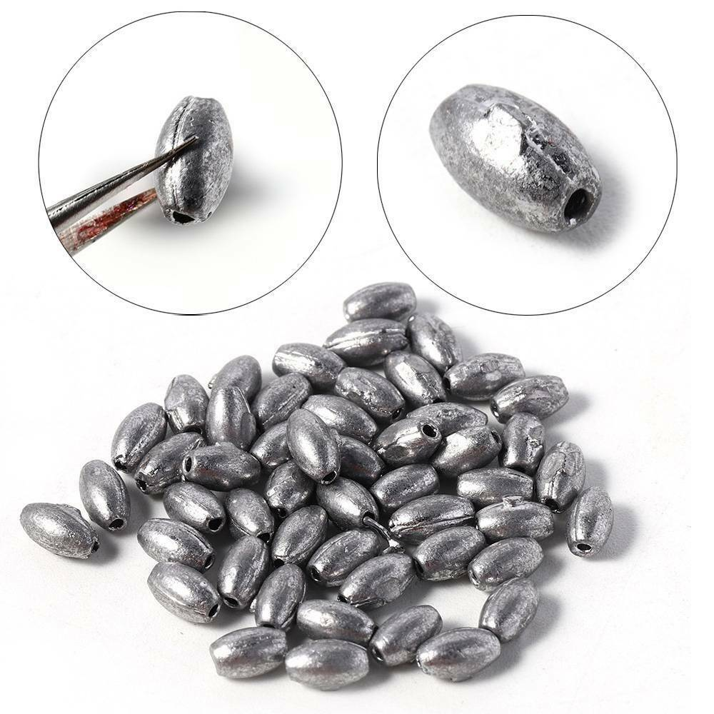 Weight Line Sinkers Fishing Lead fall Hook Connector Sinker Olive Shaped