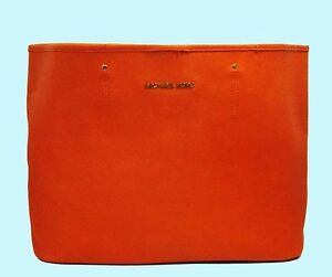 87827f6c60a Image is loading MICHAEL-Michael-Kors-TRAVEL-Tangerine-Saffiano-Leather-Tote -