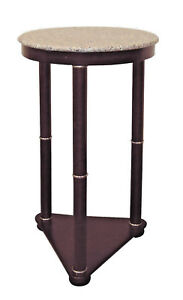 Marble-top-round-cherry-finish-accent-table-plant-stand-ORE-H-5