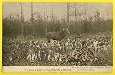 cpa Equipage CHANTILLY CHASSE à COURRE CHIENS MEUTE CERF Hallali DEER HUNT DOGS