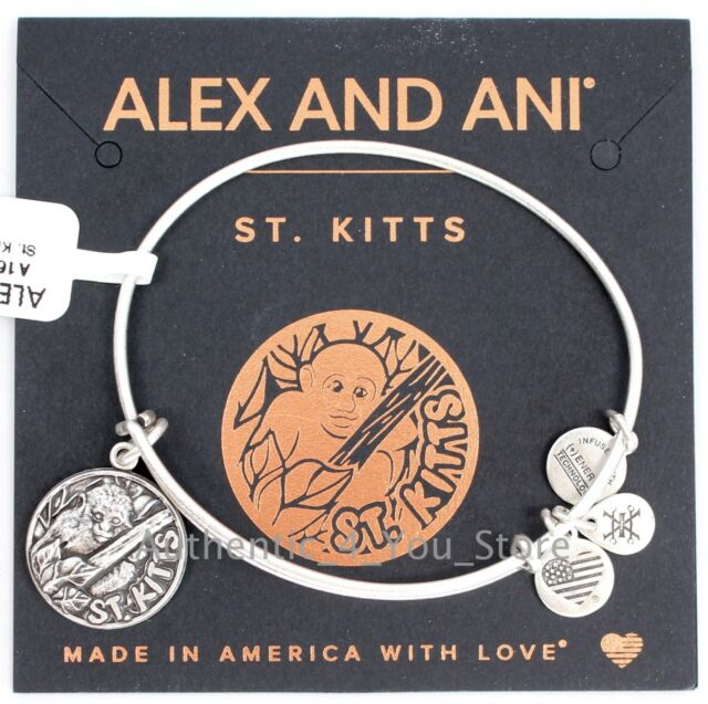 New Alex And Ani St Kitts Exclusive Silver Vervet Monkey Charm Bangle Bracelet