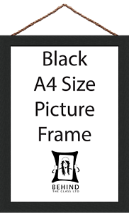 A4 Size by Behind The Glass Hanging Handmade Black Wooden Picture//Photo Frame
