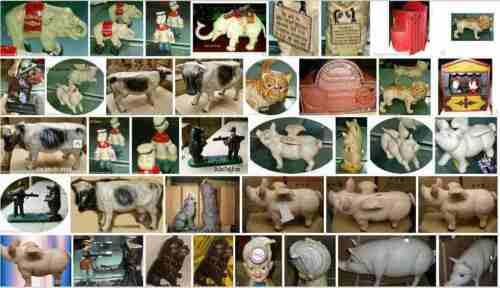 Spardose Mechan Sam Eisen farbig Weihnachten Geschenk Vintage Deko Spielzeug
