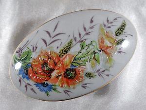 ( 03 ) Boite Bijoux / BonbonniÈre DÉcor Floral En Porcelaine De Limoges France