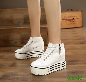Leisure-Womens-Creepers-Platform-Canvas-High-Hidden-Wedge-Heels-Lace-Up-Shoes
