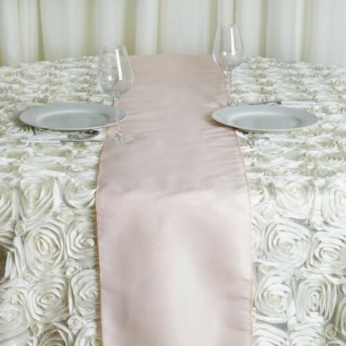 """Blush POLYESTER 12x108/"""" Table RUNNER Wedding Party Kitchen Linens Dinner SALE"""