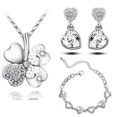 White Jewellery Hearts Set Drop Earrings Bracelet & Necklace Pendant S654