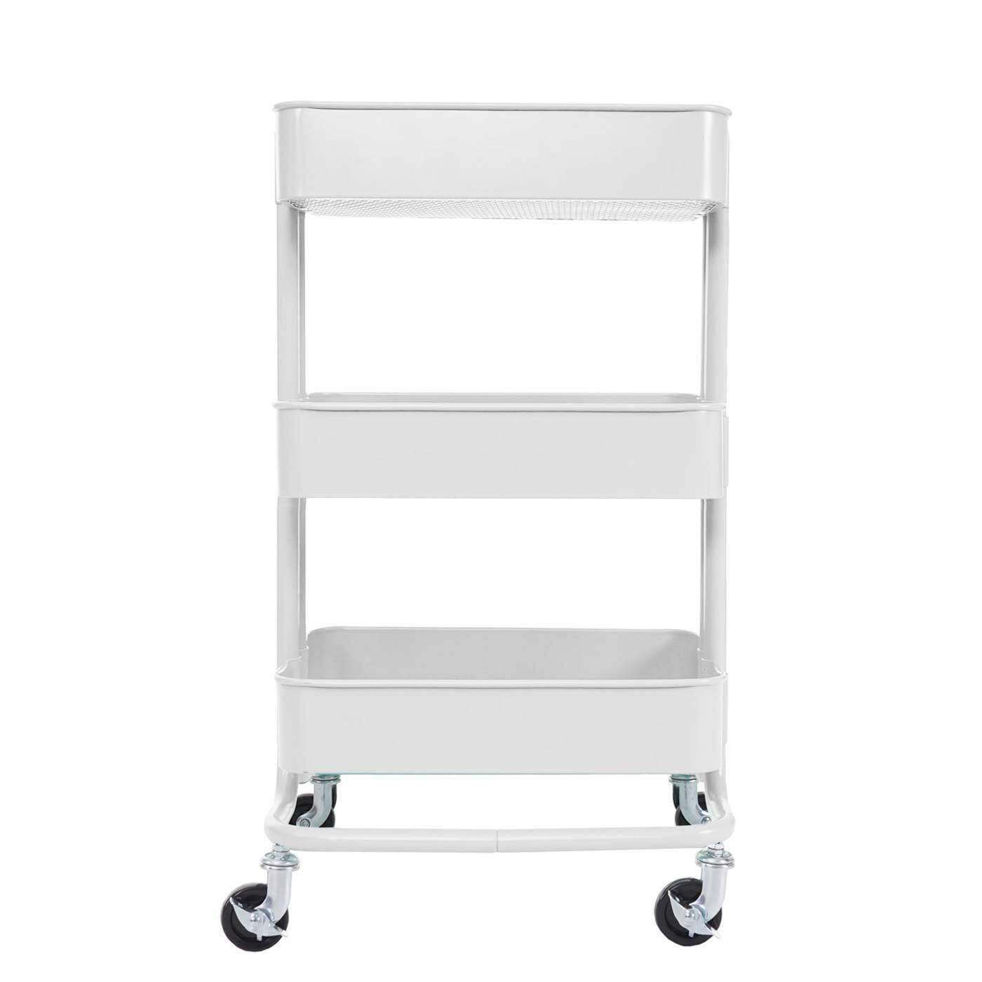 B-Ware Serving Trolley MCW-C64, Kitchen Trolley Bar Cart 79x44x37cm White