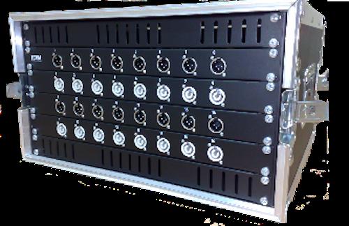 Sistema audio + power in flight case per sistemi casse attive, XLR + PowerCon