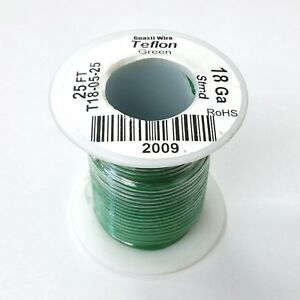 25' NEW 18AWG GREEN Hi Temp PTFE Insulated Silver Plated 600 Volt Hook-Up Wire