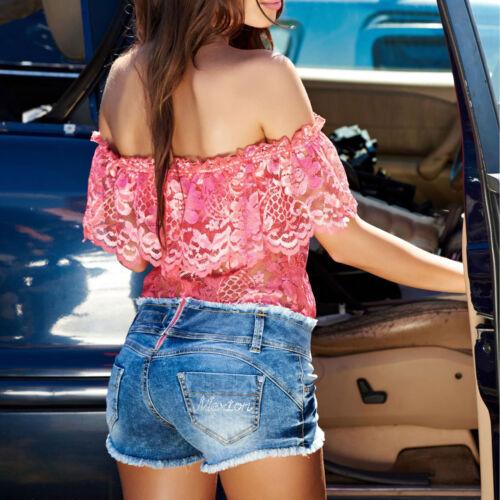 By Alina Damen Overall Jumpsuit Hotpants Spitzentop Bandeau-Bluse Jeans Shorts