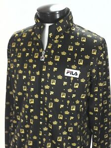 314eb0bd FILA Track Jacket for UO Brown/Gold Tennis Racket/Crown Print Zip Up ...