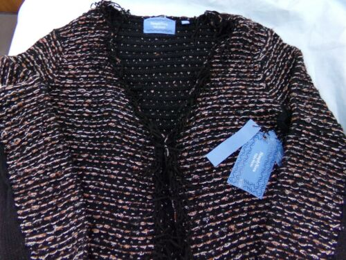Brown Fringed Comfy Winter Sweater NEW MSRP $98 Womens Vera Wang Black White