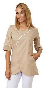 Casacca-Donna-Medicale-Estetista-Benessere-Manica-Tre-Quarti-beige-IN-5-GIORNI