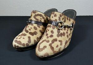 COACH Brown Pony Hair Leopard Print Slide Karsen Heeled Mules Sz 10 B
