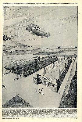 Projekt Der Neuen Luftschiffhallen Vom Aachener Architekt Nikolaus Rüben C.1909 Sammeln & Seltenes