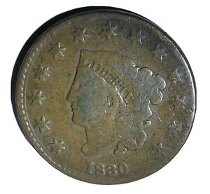 1830 Large Cent Coronet Liberty Head One Cent 1c