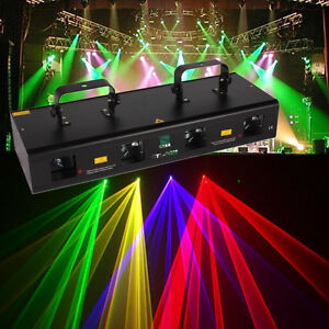 460mW-DJ-Party-LED-Laser-Buehne-Licht-Rot-Gruen-Lila-Gelb-4Len-4-beam-7CH-DMX