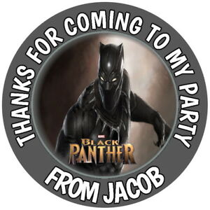 PERSONALISED MARVEL  BLACK PANTHER  GLOSS BIRTHDAY  PARTY SWEET CONE STICKERS