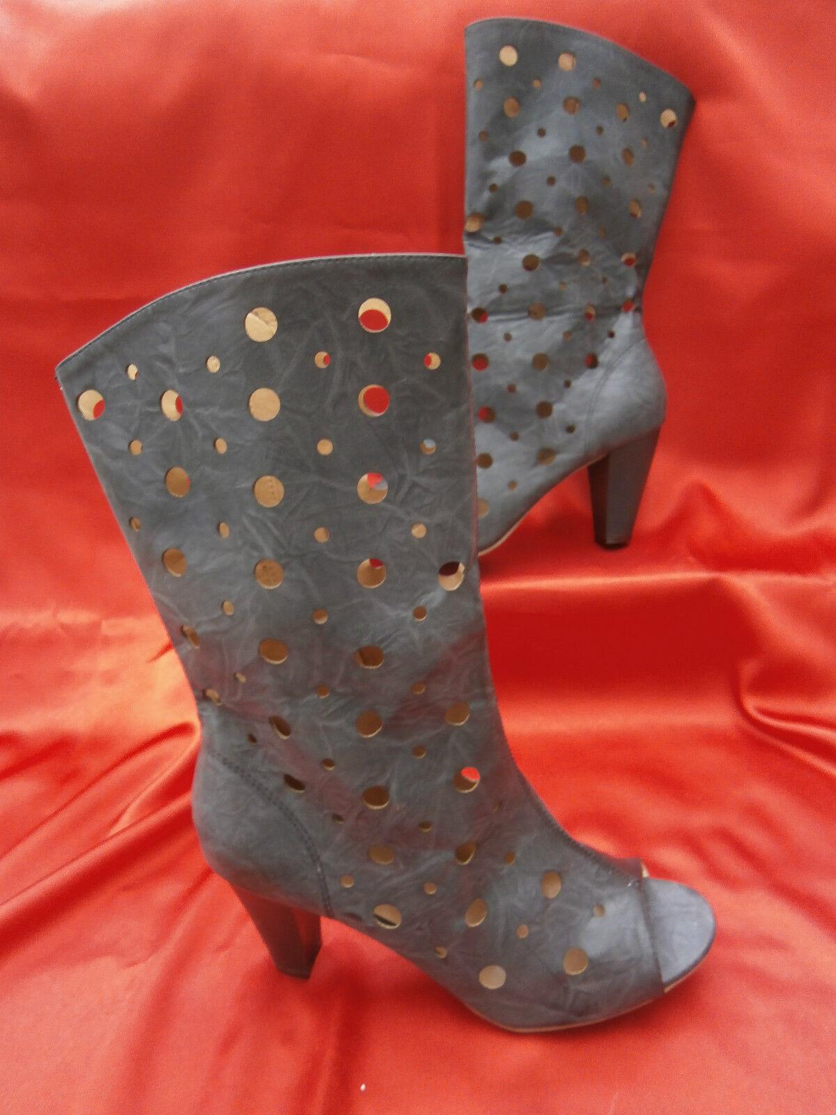 Ladies grey light black cut out medium heel boots size 7