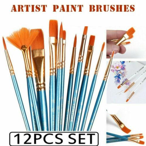 Artist Paint Brushes Set 12Pcs Oil Acrylic Watercolour Art Painting Supplies US