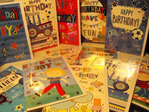 Lot de GARÇONS ANNIVERSAIRE CARTES DE JEUNES GARÇONS ouvert Anniversaire Cartes De 12 Cartes Pour Les Garçons #