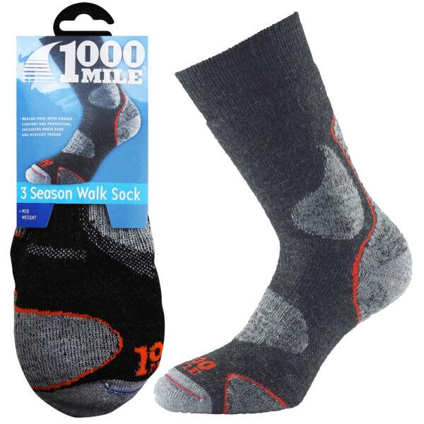 1000 Mi (approx. 1609.34 Km) Temporada 3 De Invierno De Hombre Ultra Comodidad Caminar Senderismo Calcetines De Lana Merino-ver