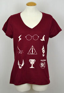 Harry Potter T-shirt Nine Symbols Women's Graphic Tee V-Neck Fitted Dark Red NWT