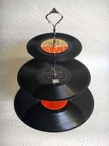 Record Cupcake Stand 3 Tier Vinyl Retro Rockabilly Rock N