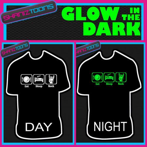 Comer Dormir Love Rock Música Devils cuernos brillan en la oscuridad Impreso Camiseta