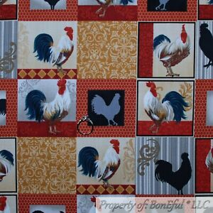 BonEful-Fabric-FQ-Cotton-Quilt-Red-Gold-Black-Rooster-Farm-Chicken-Block-Damask