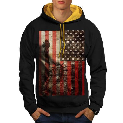 con cappuccio York Flag Liberty contrasto Uomo Felpa Usa New a oro cappuccio Nero FXnwdwxqBS