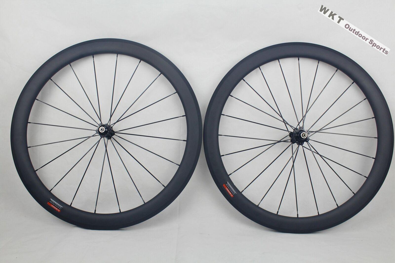 25mm width 50mm Clincher U Shape Wheels 700C  Carbon Road   Matte 3K Wheelset