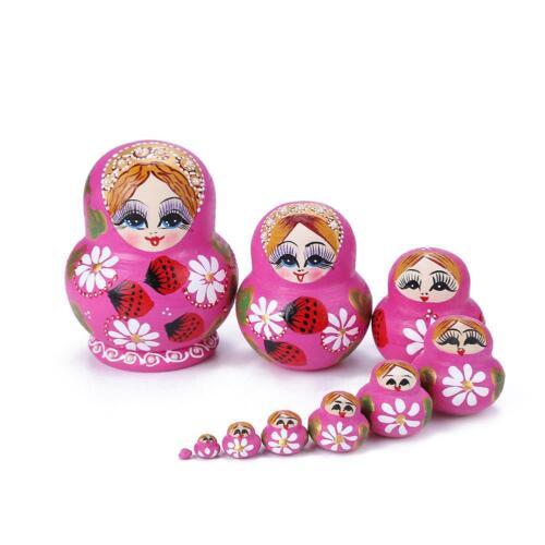 10pcs Strawberry Flower Girl Nesting Dolls Matryoshka Russian Doll Set Toys NI5L