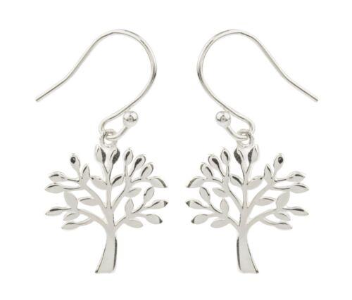 Gift bag 1x Pair of 925 Sterling Silver Tree of Life Bead Drop Earrings