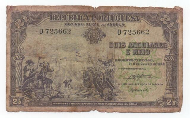 ANGOLA PORTUGAL 2,5 2 1/2 ANGOLARES 1948 PICK 71 LOOK SCANS
