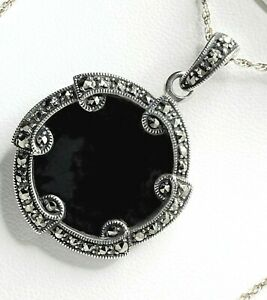 """STERLING SILVER Onyx Marcasite Necklace 20"""" Med Size Thick B&B HMK O/Box 12.7g"""