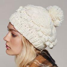 FREE PEOPLE NWT $28 Boho Bobble Pom Pom Knit Beret Beanie Hat Ivory Sz One Size