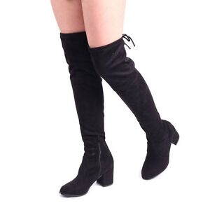 7b4d2d9e980 Linzi Amber Womens UK 8 Black Faux Suede Over Knee Tall Mid Block ...