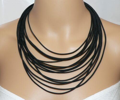 Kette Halskette Collier Statement Textil mehrreihig schwarz 393c