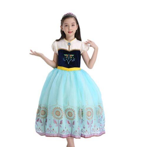 Kids Girl Anna Princess Dress Halloween Anna Cosply Costume Party Carnival Dress