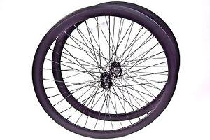 700C Alloy Wheelset 43mm Matte Flat Black Fixie Freewheel Single Speed