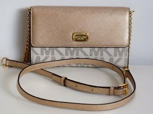 MICHAEL-KORS-Damen-Tasche-JET-SET-ITEM-LG-PHONE-CROSSBODY-vanilla-gold-PVC-Leder