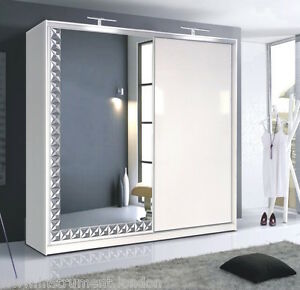 white gloss large 226cm 2 sliding door mirrored led wardrobe ebay
