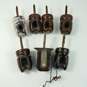 7 Ceramic Brown Glazed Wire Pole Insulators Lag Screw Type Used Vintage
